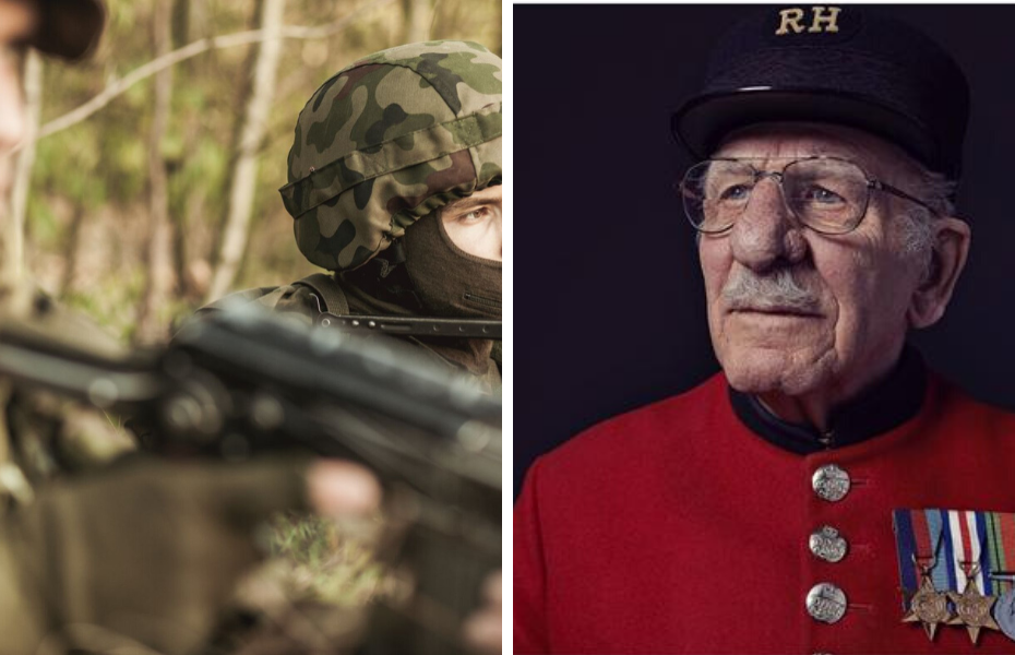 young male solider in camouflage clothing next to chelsea pensioner
